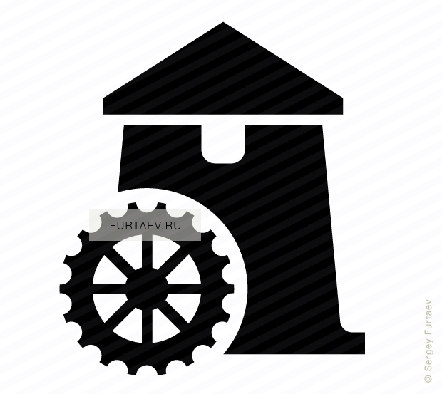 Vector icon of water mill