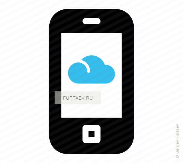 Vector icon of mobile phone with cloud on screen