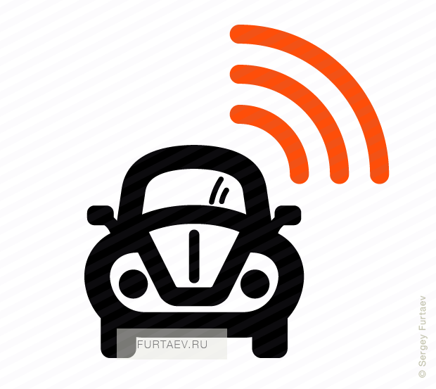 Vector icon of wireless signal going from retro style automobile