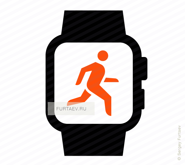 Vector icon of smart watch with running man on screen