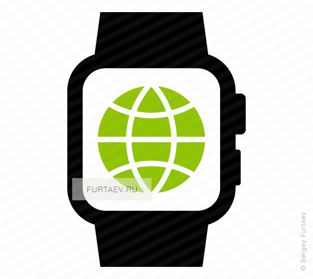 Vector icon of smart watch with globe on screen