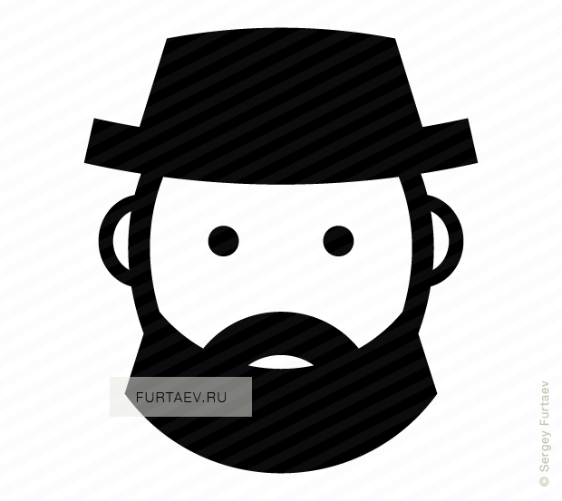 Vector icon of male face with beard